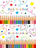 Back to school Colored pencils Stock Photo