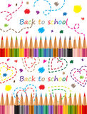 Back to school Colored pencils Vector illustration Royalty Free Stock Image