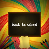 Back to school colorful background with blackboard pencils and t Stock Photography