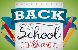 Back to School Colorful Design with Pencils and Colors, Vector Illustration Royalty Free Stock Image