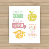 Back to school colorful doodle lettering signs: bus, apple, penc Royalty Free Stock Image