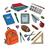 Back to school colorful icons and vector design elements. Education stationery supplies and tools isolated on white background.  Stock Illustration