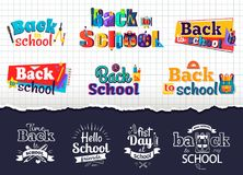 Back to School Colorful and Monochrome Stickers. Back to school bright colorful and white monochrome stickers  vector illustrations on checkered and dark purple Stock Image