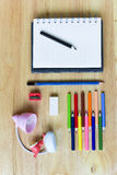 Back to school. Colorful Office and study art stationery objects Stock Photography