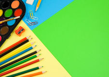 Back to school on colorful paper Stock Photo
