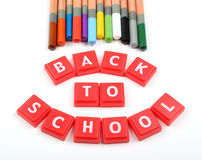 Back to school. Colorful pencil crayons with back to school block Stock Photos