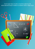 Back to School colorful poster with blackboard and school supplies on blue background.. Back to School. Back to School colorful cartoon poster with blackboard Stock Images