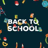 Back to school colorful poster, template with various education supplies vector illustration. vector illustration