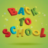 Back To School colorful text on a bright green background. Playful 3D Letter Design. Education concept. Flyer, poster Stock Photo