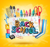 Back to School Colorful Text in White paper with School Items Royalty Free Stock Photo