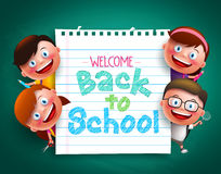Back to school colorful  text written in paper with funny kids vector characters. Holding school items. Vector illustration Royalty Free Stock Photography