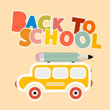 Back to School Colorful Title with Yellow Bus Stock Photography