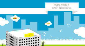 Back to school. Colorful vector illustration concept. School building royalty free illustration