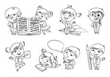 Back to school. Coloring book. Back to school. Pupils read the textbook. Children do homework. Girl showing a good score. Boy looking through a magnifying glass vector illustration