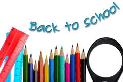 Back to school - coloring crayons and ruler Stock Photo