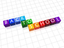 Back to school in colour. 3d colour cubes with white letters with text - back to school Royalty Free Stock Images
