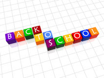 Back to school in colour 2. 3d colour cubes with white letters with text - back to school Royalty Free Stock Photography