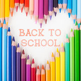 Back to school. Colour pencils. Heart shape. Stock Photos