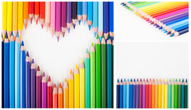 Back to school. Colour pencils. Heart shape. Royalty Free Stock Photography