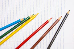 Back to School. Colour pencils. Stationery. Notebook. Stock Photo