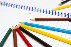 Back to School. Colour pencils. Stationery. Notebook. Drawing Royalty Free Stock Image
