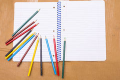 Back to School. Colour pencils. Stationery. Notebook. Stock Photography