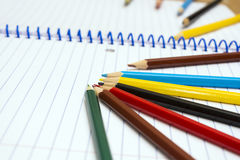 Back to School. Colour pencils. Stationery. Notebook. Royalty Free Stock Image
