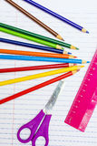 Back to School. Colour pencils. Stationery. Notebook. Drawing Stock Photos