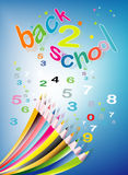 BACK TO SCHOOL COLOURED PENCILS COLLECTION. A collection of coloured pencils illustrated Stock Photography