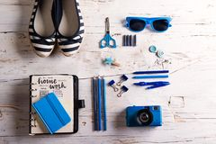 Back to school composition on white background. Royalty Free Stock Images