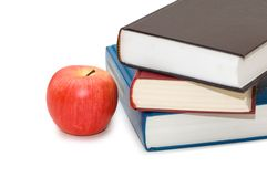 Back to school concept. With apple and books Stock Photos