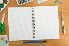 Back To School Concept And Supplies On Wood Stock Photography