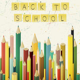 Back to school concept. Background with coloured pencils and stickers Royalty Free Stock Photography