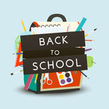 Back to School concept. Backpack with school supplies. Vector illustration. Royalty Free Stock Photo