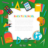 Back to school concept banner with flat sticker icons and white Stock Photo