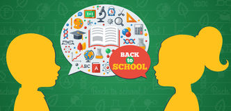 Back to School Concept Banner with Girl and Boy Stock Image