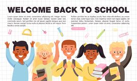 Free Back To School Concept Banner With Copy Space. Elementary School Students Different Ethnicities With Books, Backpacks. Royalty Free Stock Photos - 193680188