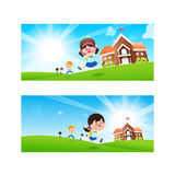 Back to School concept Blank banner template Student kids jumping and running with happiness and cheerful vector illustration. Back to School concept Blank stock illustration