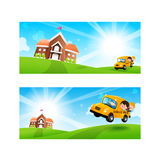 Back to School concept Blank banner template Student kids on sch Stock Photos