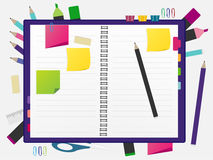 Back to school concept. Blank notebook over school and office supplies on office table. Top view with copy space. vector illustration