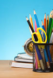 Back to school concept on blue background Royalty Free Stock Photo