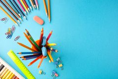 Back to school concept on blue texture paper background.  stock photography