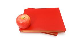 Back to school concept with  books and apple Stock Photo