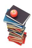 Back to school concept with books and apple Stock Photos