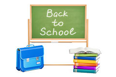 Back to school concept with books, briefcase and blackboard, 3D Royalty Free Stock Photos