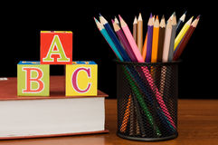 Back to school concept with books and pencils Stock Images