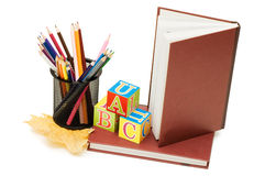 Back to school concept with books and pencils Royalty Free Stock Photos