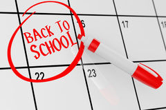 Back to School Concept. Calendar with Red Marker and remind Back. To School Sign extreme closeup. 3d Rendering Royalty Free Stock Images
