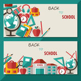 Back to school concept cards. With school stationary, equipment Royalty Free Stock Images