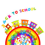 Back to school concept with cartoon train on rainbow and colored Royalty Free Stock Photo
